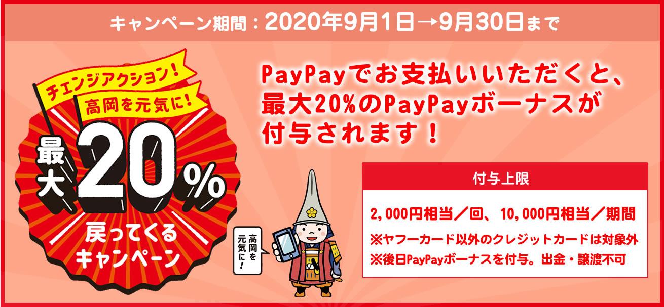 高岡市×PayPay(ペイペイ)20%還元キャンペーンいつからいつまで?